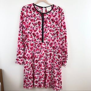 Kate Spade Rose Print 100% Silk Dress Size 10